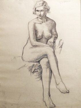 EG Brown Nude Study 02 25x19 Drawing