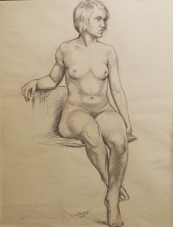 EG Brown Nude Study 25x19 Drawing