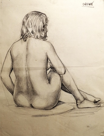 EG Brown Sitting Nude 01 25x19 Drawing
