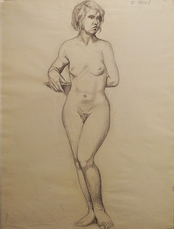 EG Brown Standing Female Nude 02 25x19 Drawing