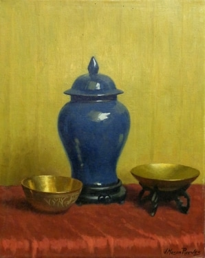 J. Mason Reeves Blue Vase with Bowls 16x20 Oil on Canvas Board