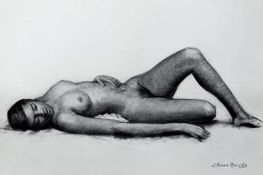 J. Mason Reeves  Reclining Nude  22x16 pencil drawing