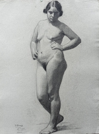 J. Mason Reeves  Standing Nude  24x18 pencil drawing