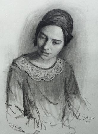 J. Mason Reeves  The Turban  20x16 pencil drawing