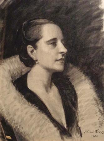 J. Mason Reeves Norma Shearer 24x18 Charcoal Drawing