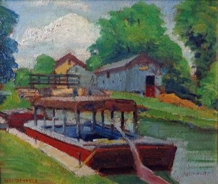 Jacob Weitzenfeld Riverboat Dock 9x12 Oil on Board
