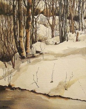 R. Wade Birch Trees and Snow 14x11 Watercolor