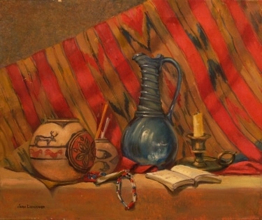 Jean Drogkamp Still Life with Indian Pots 20x24 Oil on Canvas
