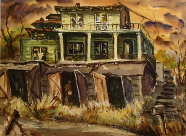 John Ledden Abandoned House 22x30 Watercolor $395