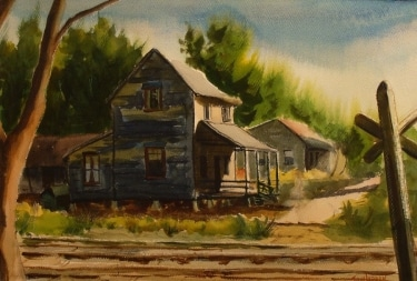 John Ledden Along the Tracks 18x24 Watercolor