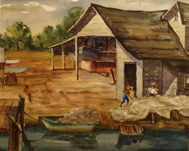 John Ledden Boat Storage 22x30 Watercolor