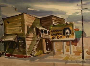 John Ledden General Safety Tire 20x24 Watercolor