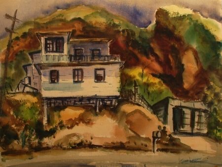 John Ledden House in the Canyon 22x30 Watercolor
