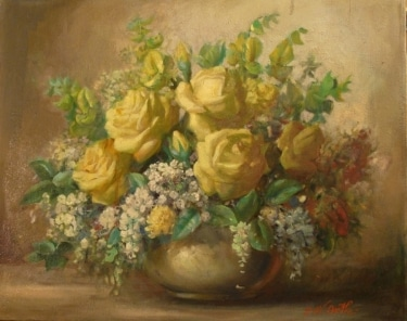 John W Orth Yellow Roses 16x20 Oil on Canvas
