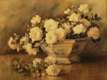 Lillie M Nichols Delft Bowl with Roses 14x18 Watercolor