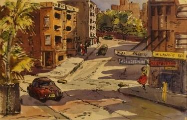 Unknown Artist Big City Street Scene 10x14 Watercolor