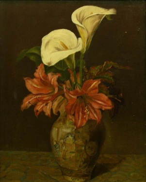 Unsigned Calla Lilies and Hybiscus 18x14 Oil