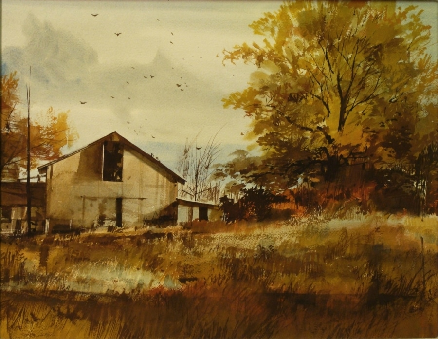 John Cameron Berkey Country Farm in Autumn 14x18 Casein on Board
