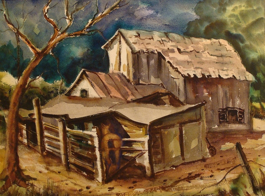 John Ledden Barn in the Valley 22x30 Watercolor
