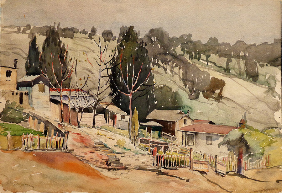 William Reginald Watkins House in a Landscape 11x15 Watercolor
