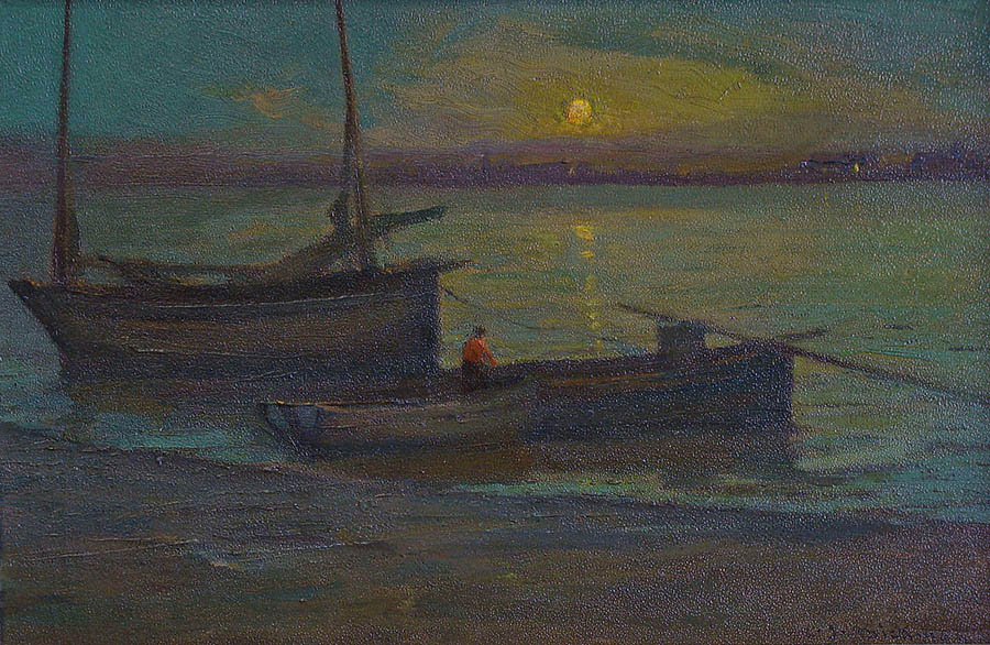 Charles John Dickman Returning at Twilight 12x18 Oil on Board