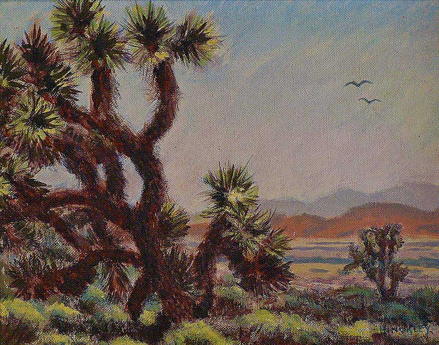 Lawrence J Hinkley Joshua Trees 8x10 Oil on Canvas Board