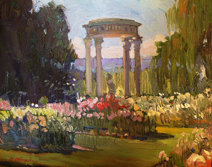 Chuck Kovacic Arboretum Roses 11x14 Oil on Board