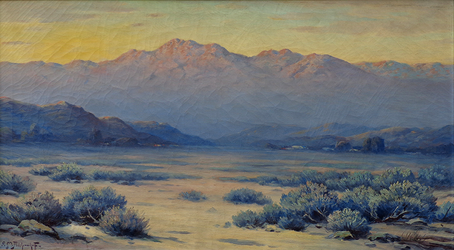 Alexis M. Podchernikoff Blue Desert San Bernadino Mountains 26x46 Oil on Canvas
