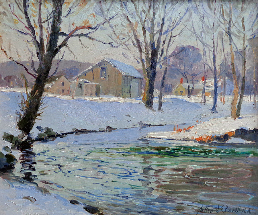 Arthur J. Powell Homestead in Winter 10x12 Oil on Board