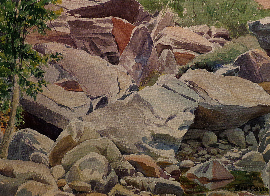 Ben Carre Rugged Rocks Taquitz Canyon 11x14 Watercolor