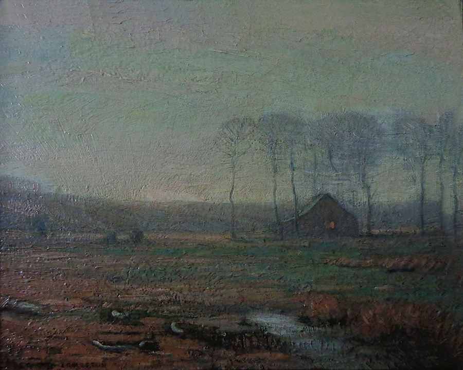 Benjamin Eggleston Farmhouse at Dusk 8x10 Oil on Board