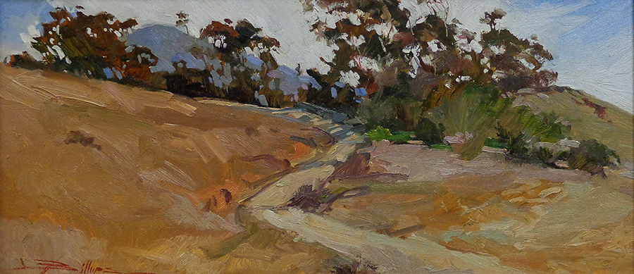 Betty Billups Between Two Harbors-Catalina 10x23 oil on board