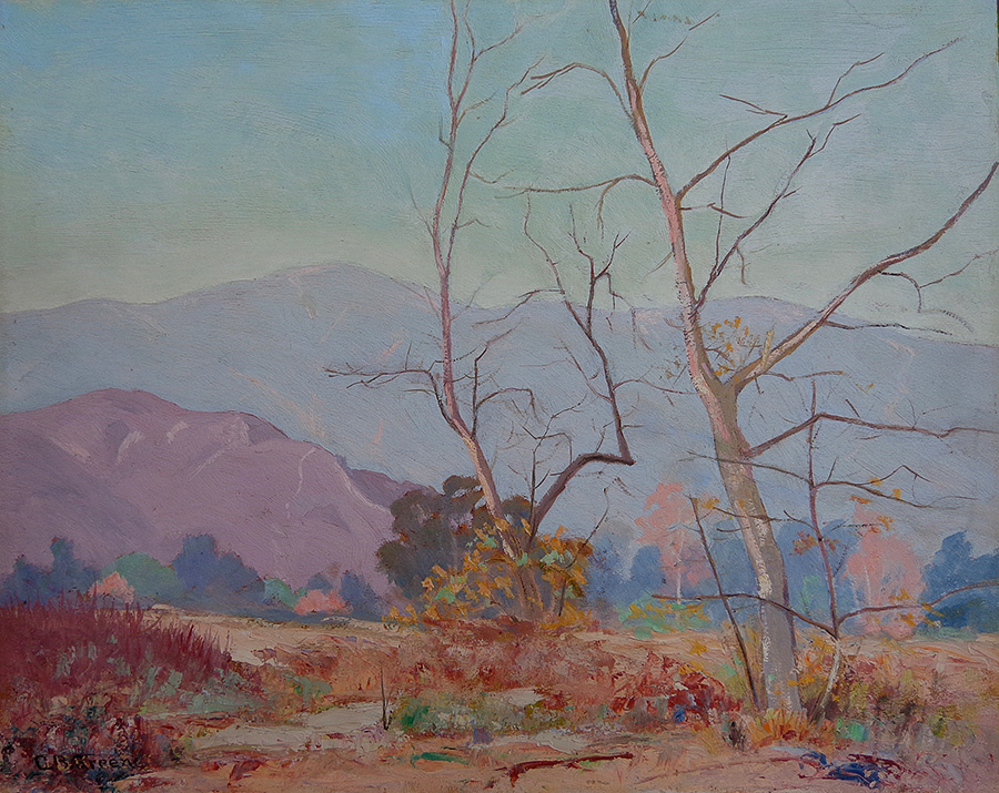 Charles B. Green Arroyo Pasadena 16x20 oil on board
