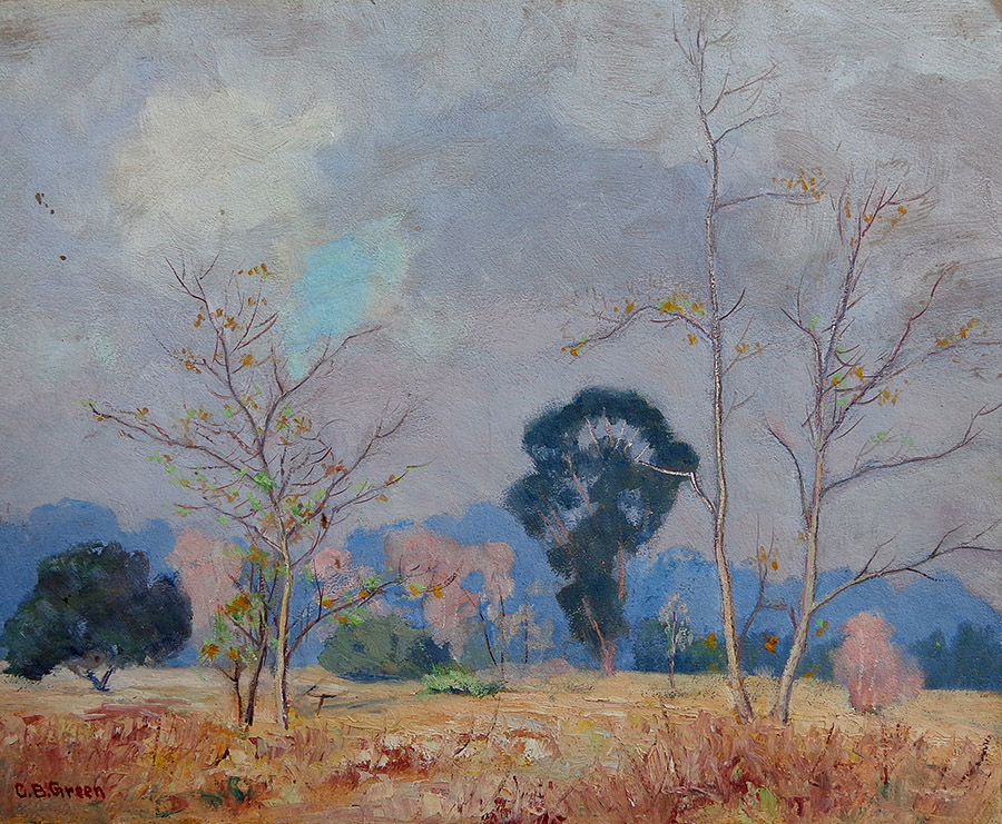 Charles B. Green Arroyo South Pasadena 16x20 oil on board