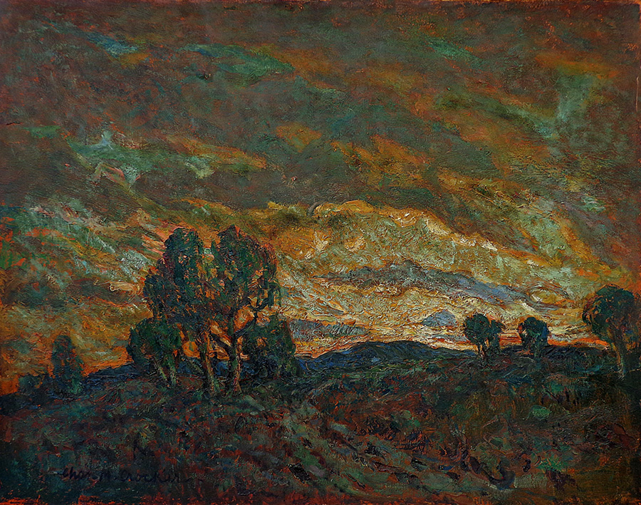 Charles Crocker Dramatic Sunset 30x36 Oil on Board