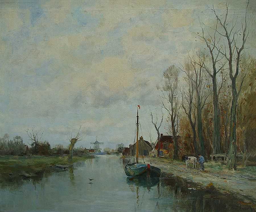 Charles Gruppe Along the Canal 24x30 Oil on Canvas