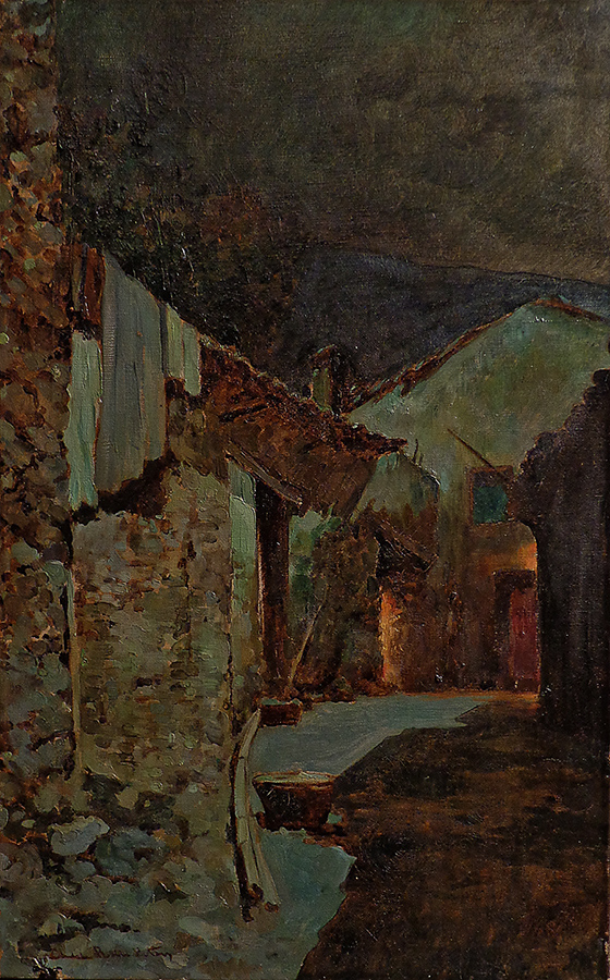 Charles Rollo Peters Nocturnal Alleyway 27x17 Oil on Canvas
