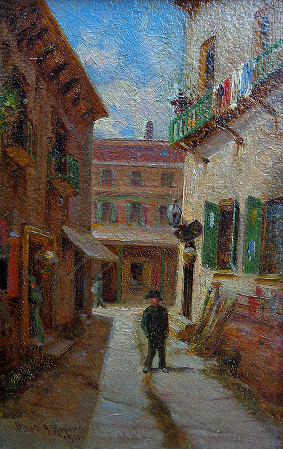 Charles A. Rogers Ross Alley Chinatown San Francisco 8.25x5.25 Oil on Board