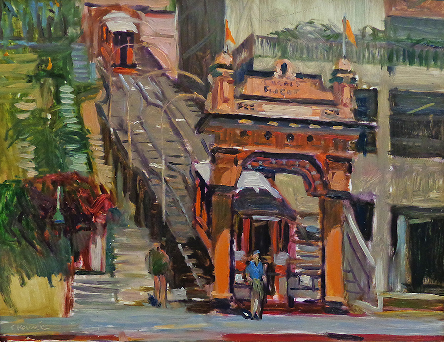 Chuck Kovacic Incline Ride Bunker Hill 14x18 oil on board