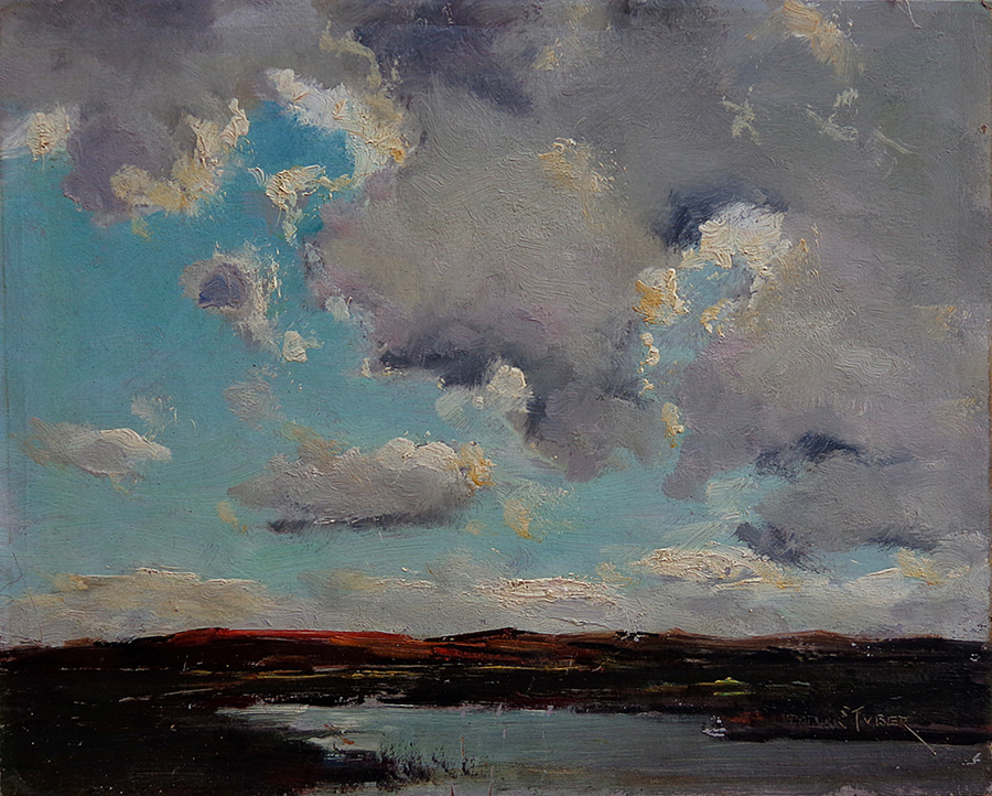 Dedrick Stuber Clouds over the Desert 10x12 Oil on Board