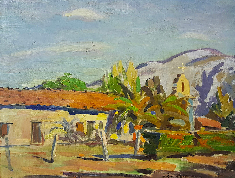 E. Roscoe Shrader San Antonio de Pala Mission 14x18 Oil on Canvas