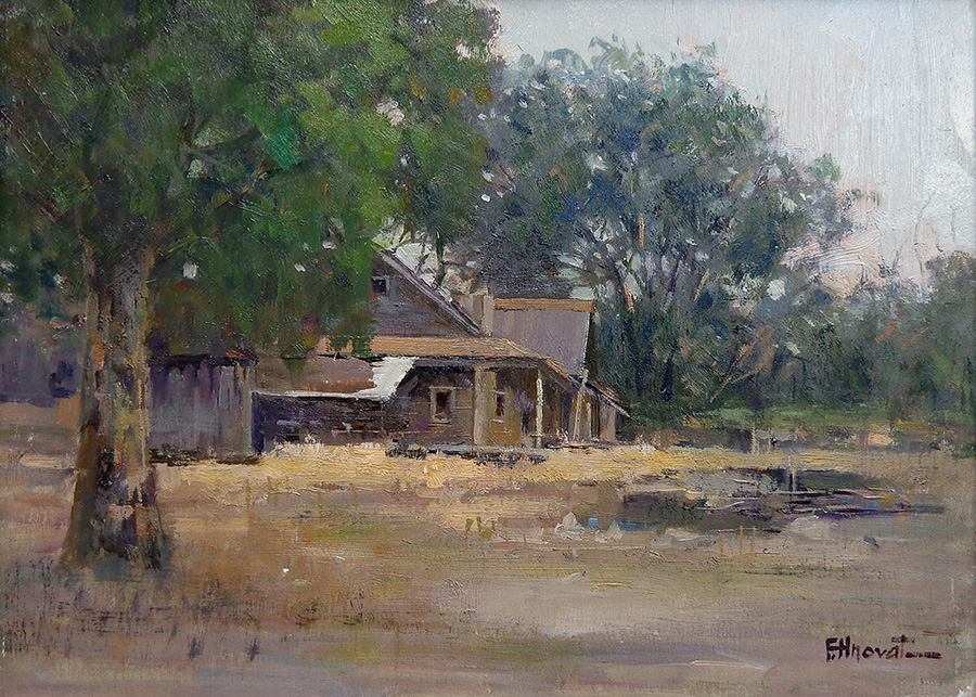 "Felice Hrovat ""Abandoned House"" 9x12 Oil on Board"
