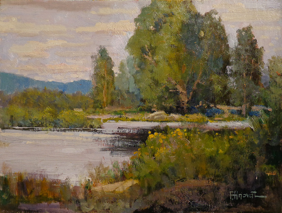 Felice Hrovat Along the Quiet Stream 9x12 Oil on Board