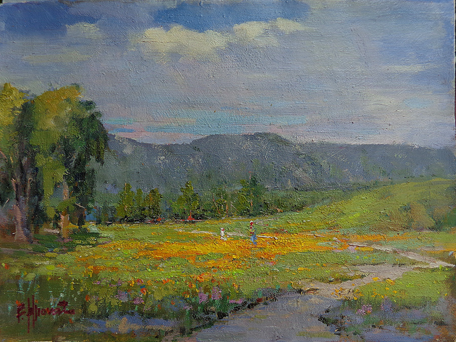Felice Hrovat Among the Poppies 9x12 Oil on Board