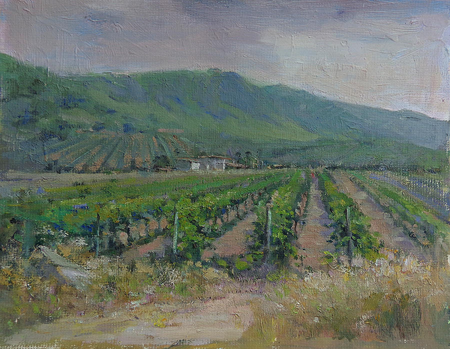 Felice Hrovat Central Valley Vineyard 11x14 Oil on Board