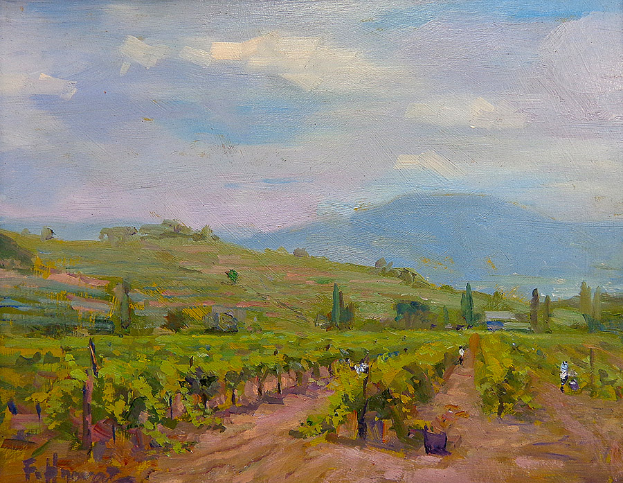 "Felice Hrovat ""Central Valley Vineyard"" 8x10 oil on board"