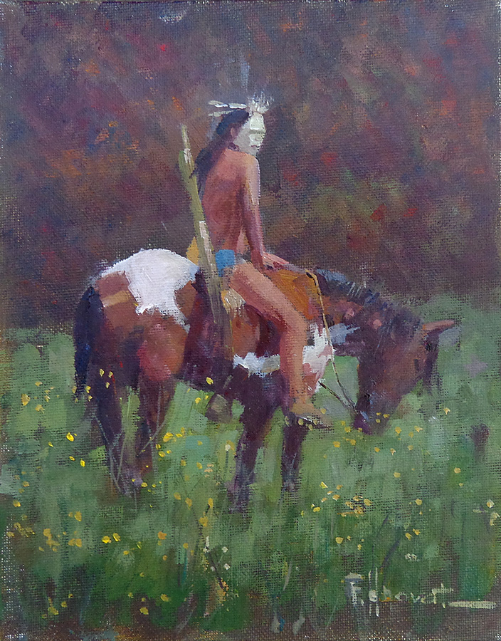 Felice Hrovat Indian Warrior 10x8 oil on board