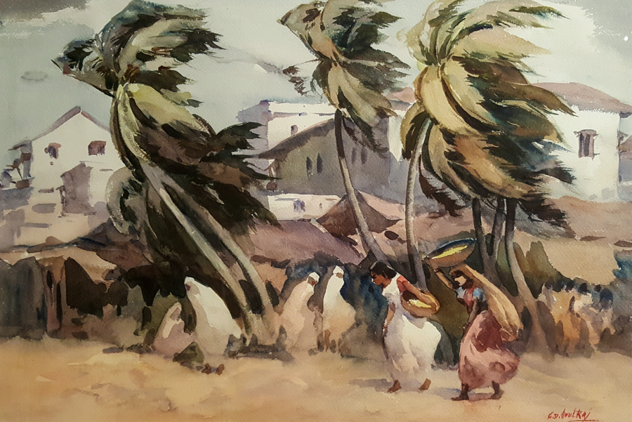 G.D. Arul Raj Windswept 15x22 watercolor