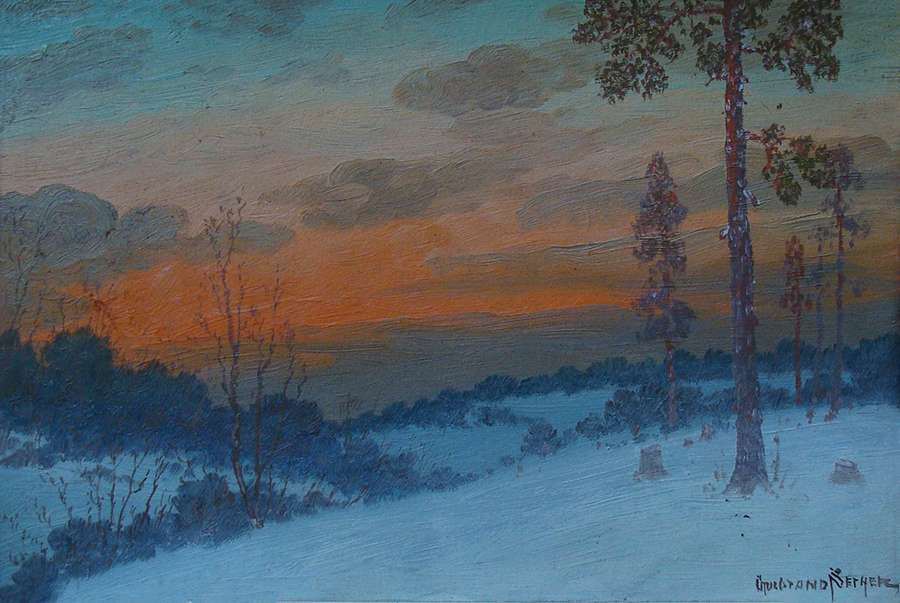 Gulbrand Sether Winter Sunset 9x14 Oil on Board