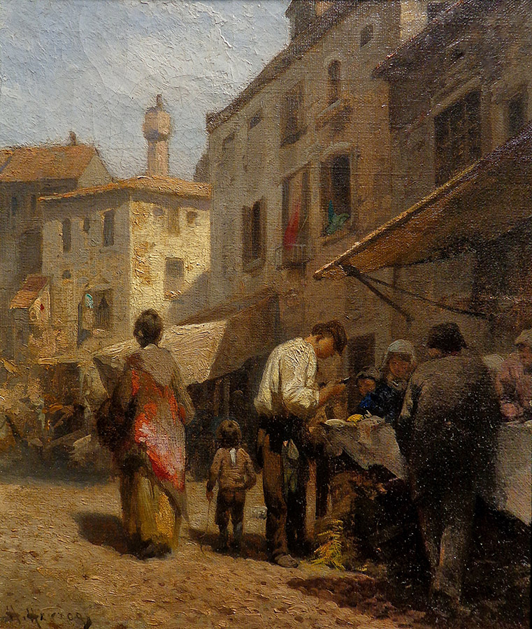 Herman Herzog Corner Market 9.5x11.5 Oil on Canvas